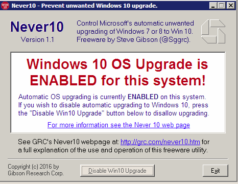 Disable windows 10 upgrade